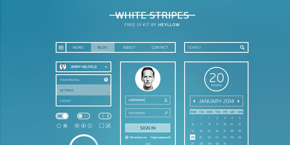 White Stripes UI Kit PSD