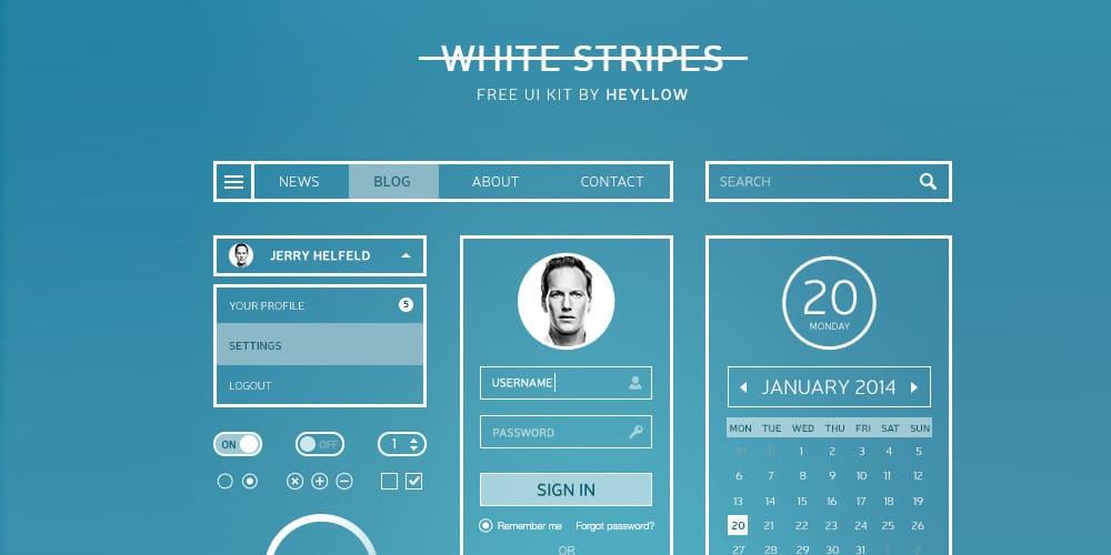 White Stripes UI Kit PSD