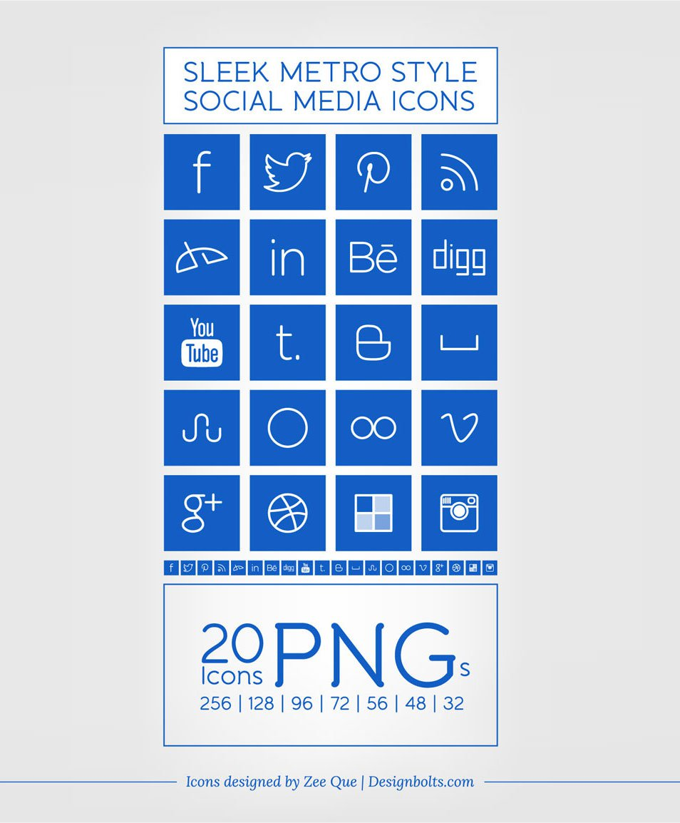 Windows 8 Metro Style Sleek Social Media Icons