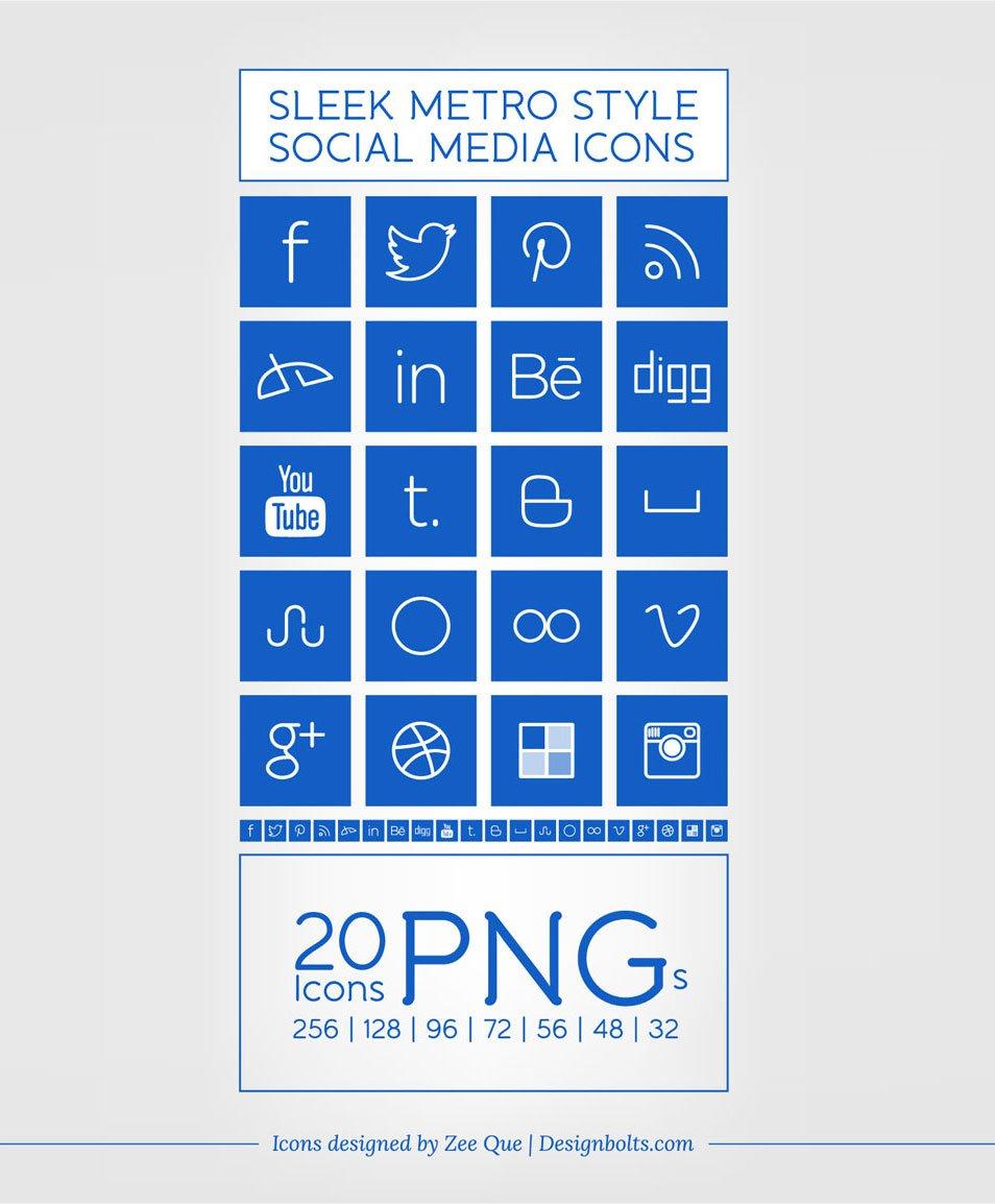 Windows 8 Metro Style Sleek Social Media Icons