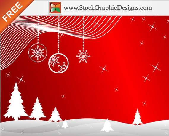 Winter Red Background Vector with Christmas Trees