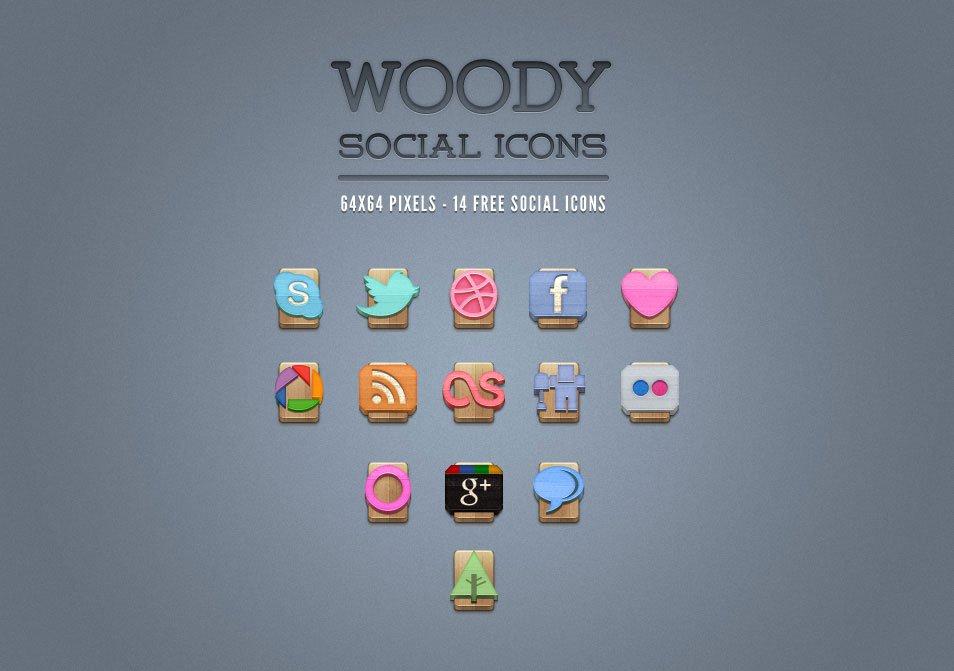 Wood Social Icons Set Vol 1
