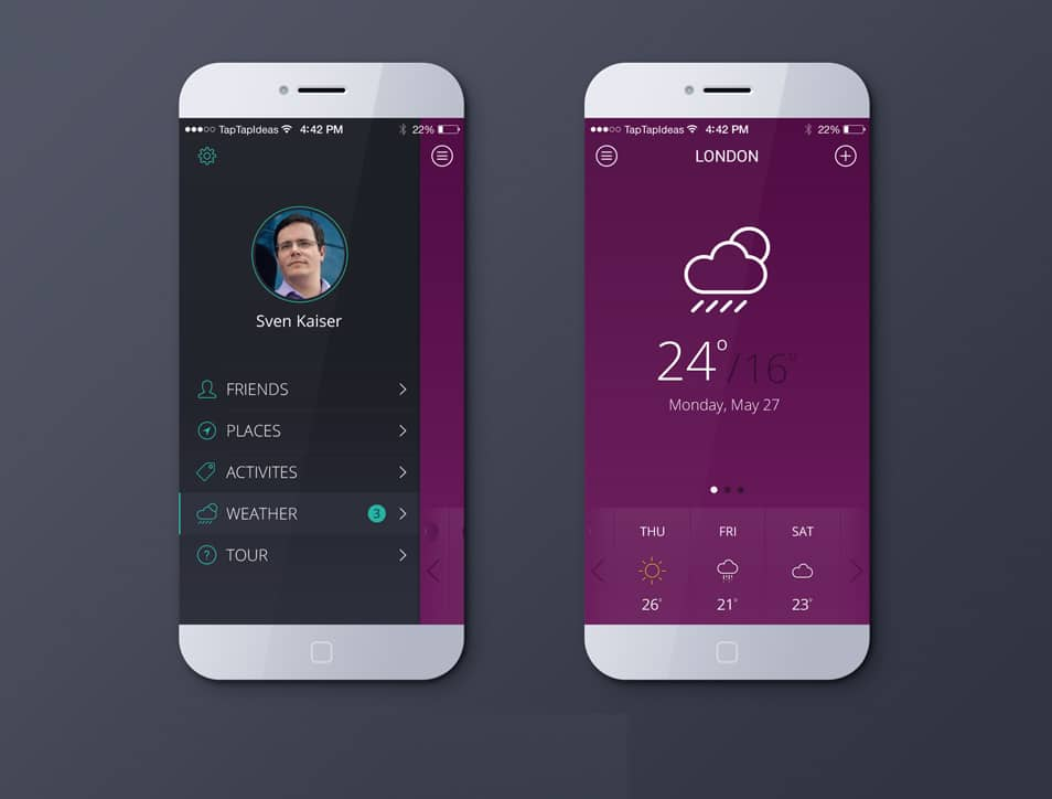 free weather app psd ios7