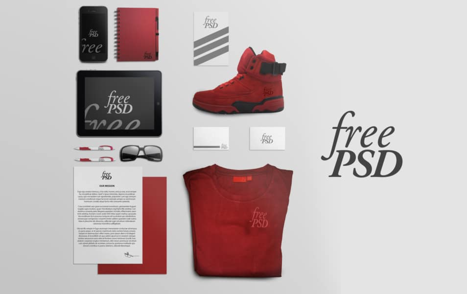 Branding Stationery Mock Up Free PSD