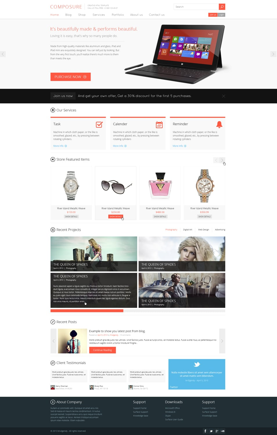Composer Free Website Template PSD