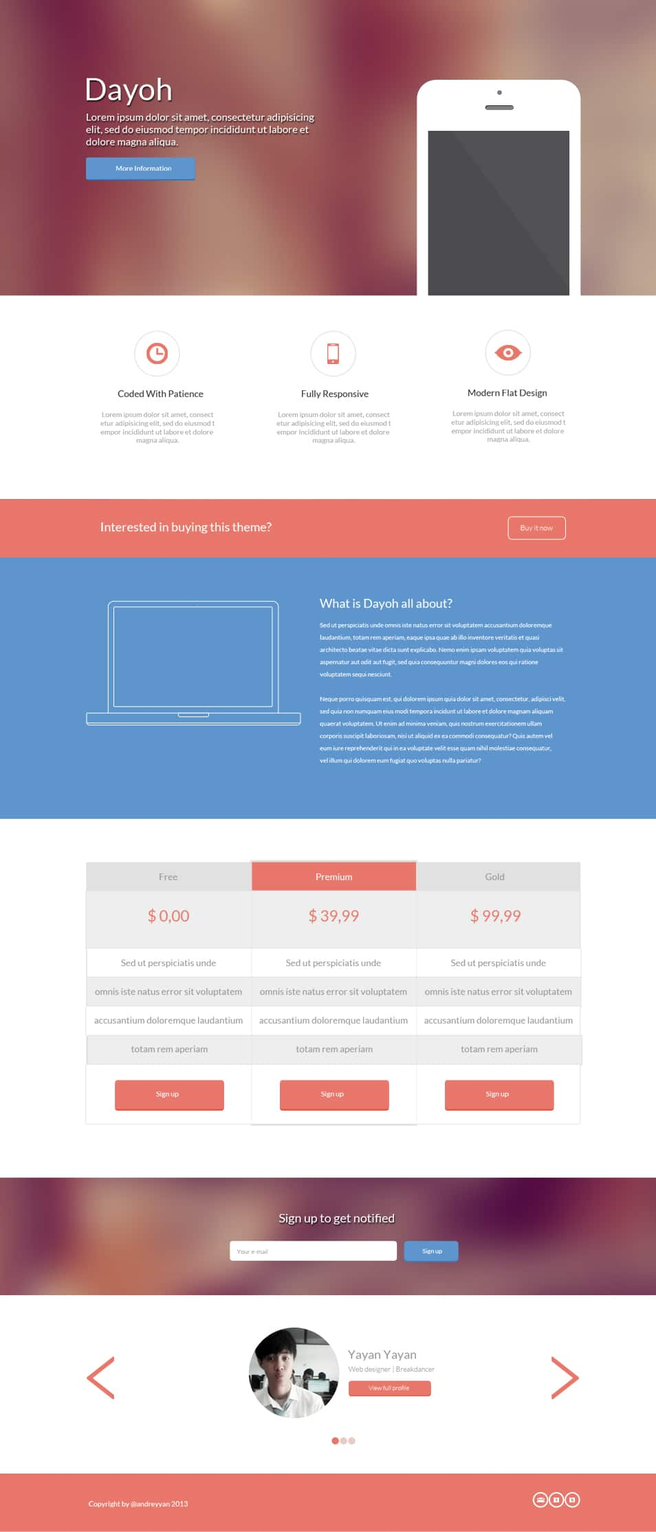 Dayoh - Landing page PSD Template
