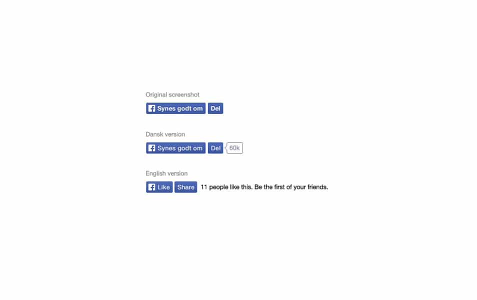 Facebook like and share button PSD