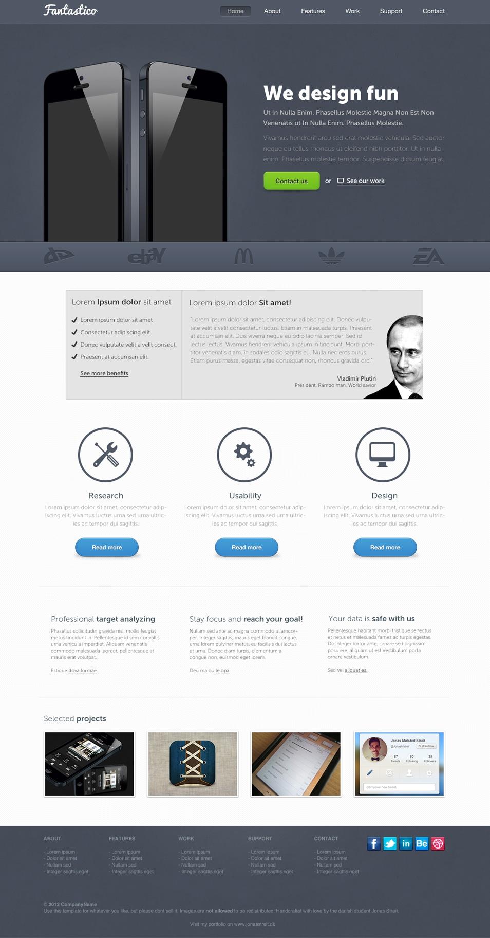Fantastico - Free Landing Page
