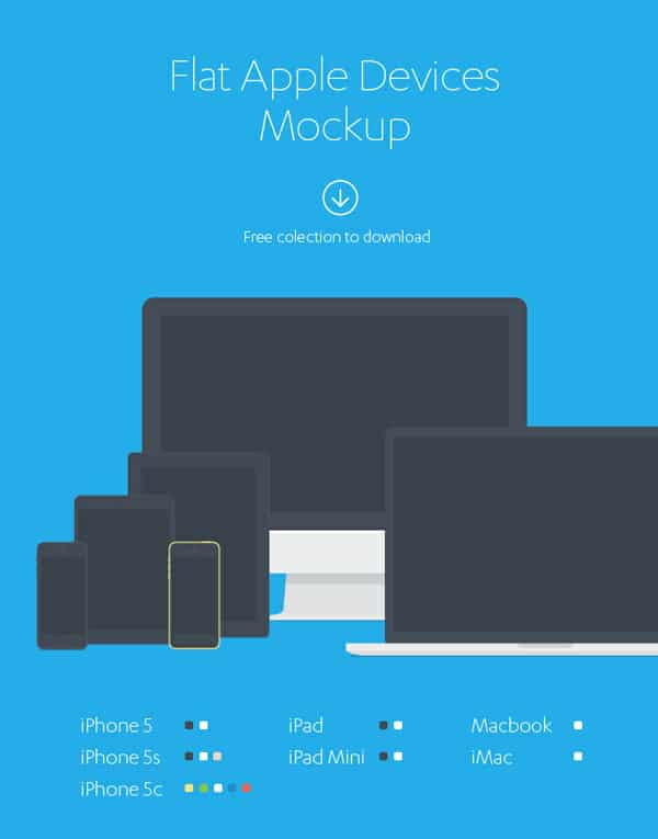 Flat Apple Devices MockUp PSD