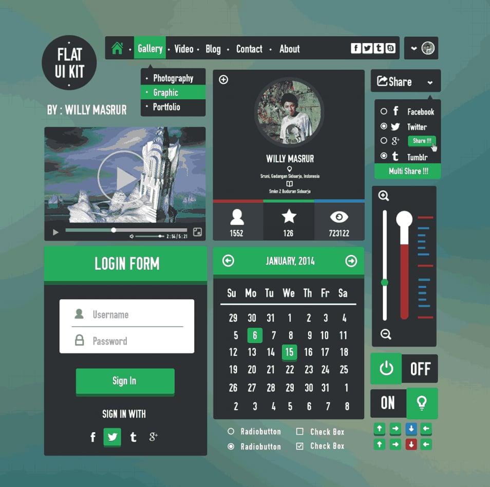 Flat UI Kit Free PSD