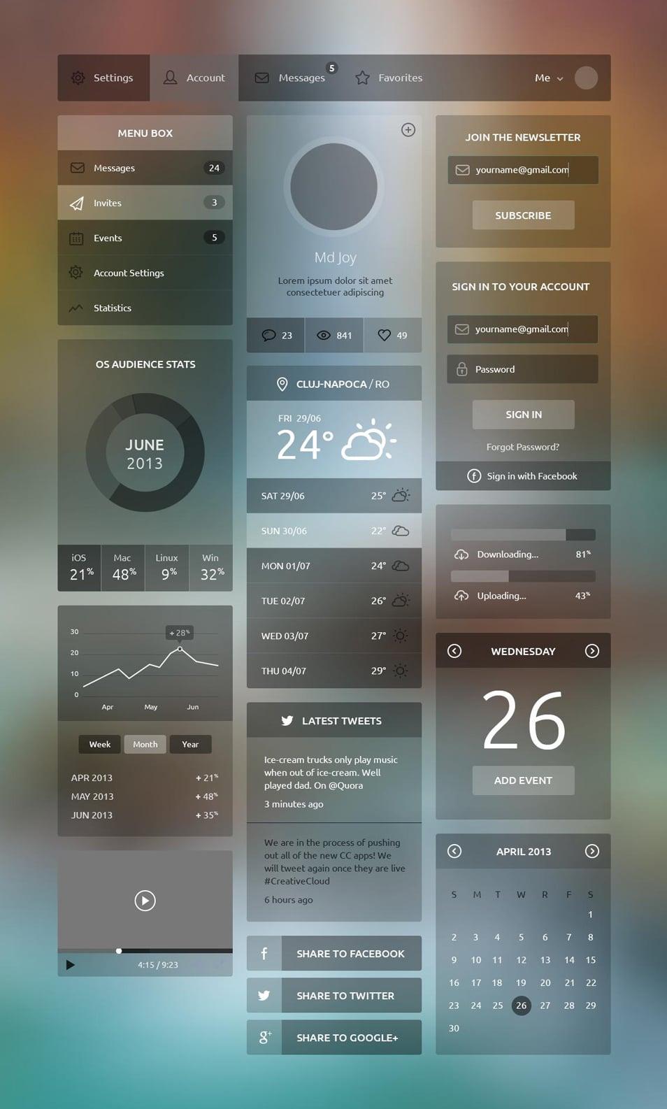 Flat UI Kits Free PSD