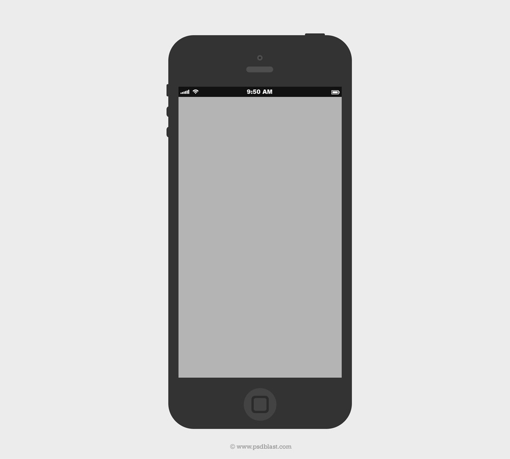 Flat iPhone Wireframe Design Template PSD