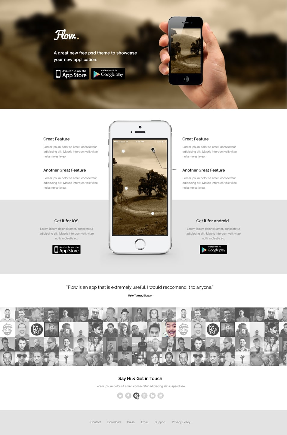 Flow – Free Mobile App Landing Page Template