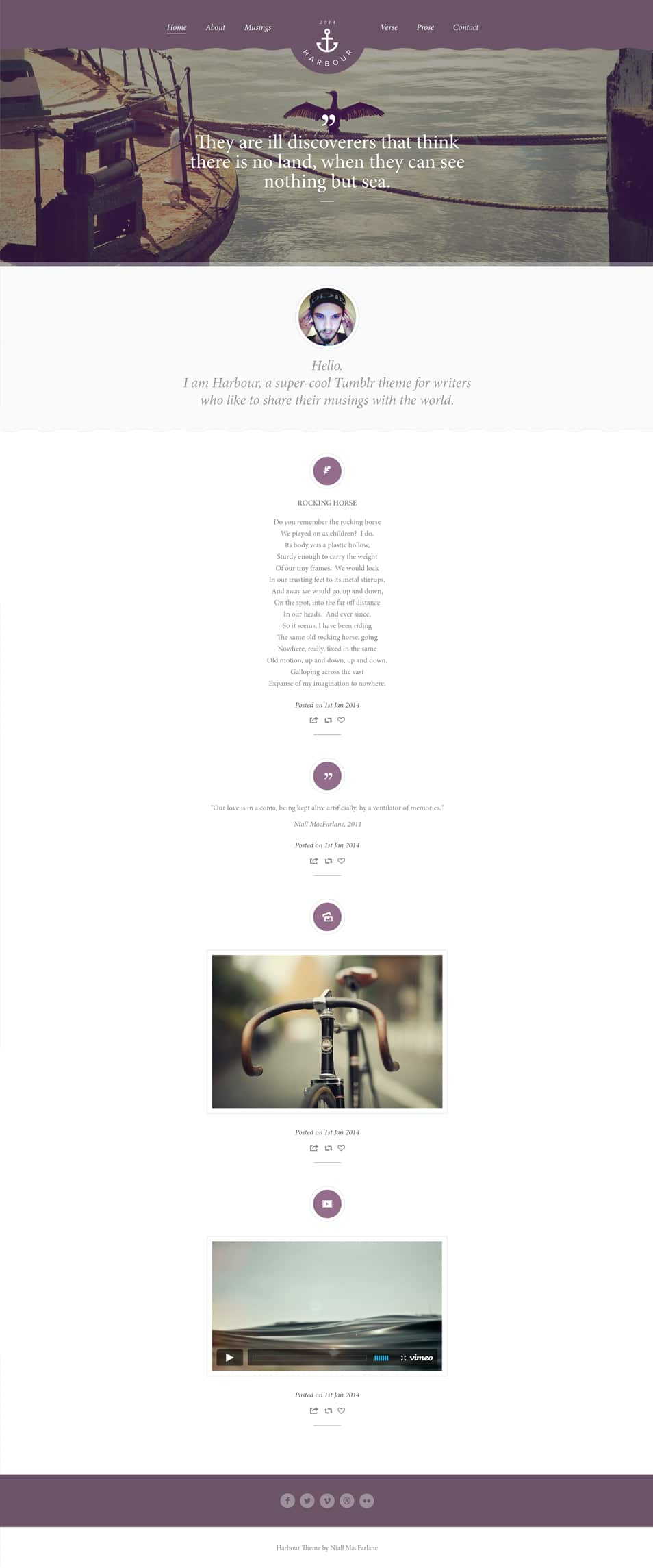Harbour free PSD website template
