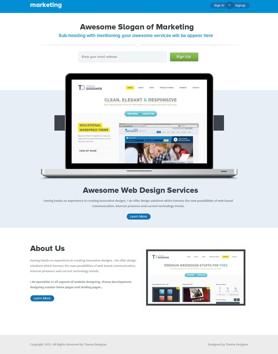 Marketing Landing Page PSD