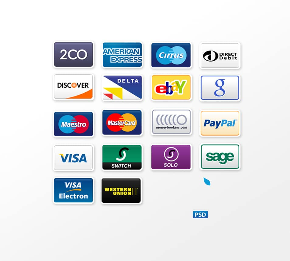 Payment Options Icon Set PSD