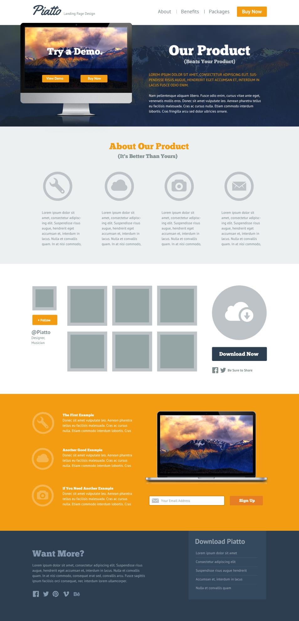Piatto Free Flat Style Landing Page PSD