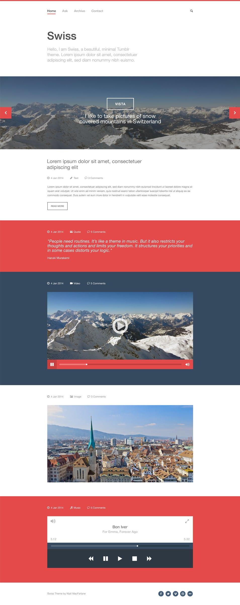 Swiss Free PSD Tumblr template