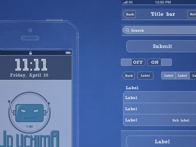 iPhone Blueprint Wireframe Kit Free PSD