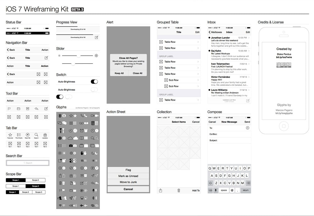 ios7 Wireframe Kit