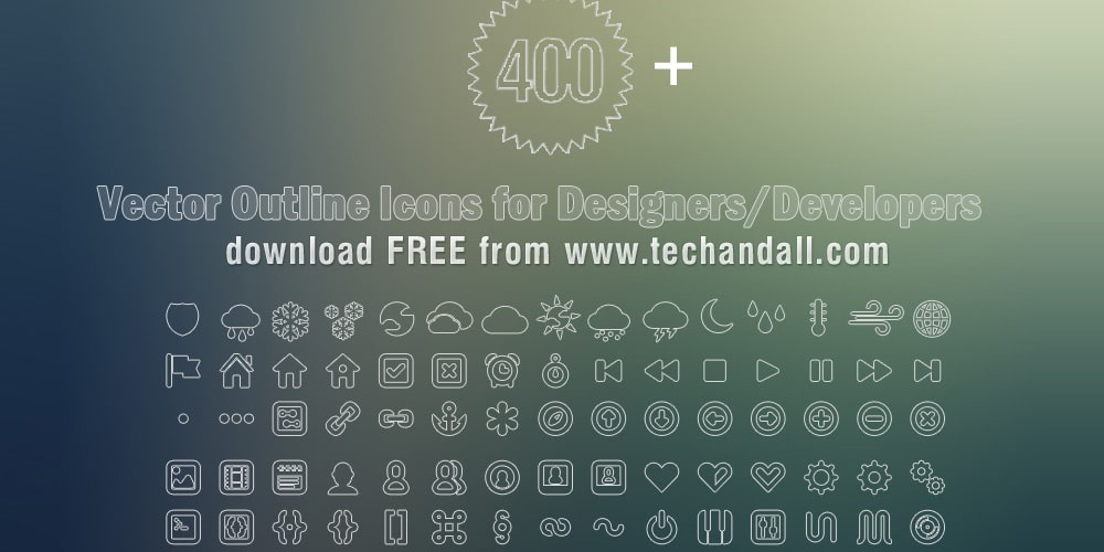 400+ Vector Outline Icon Set