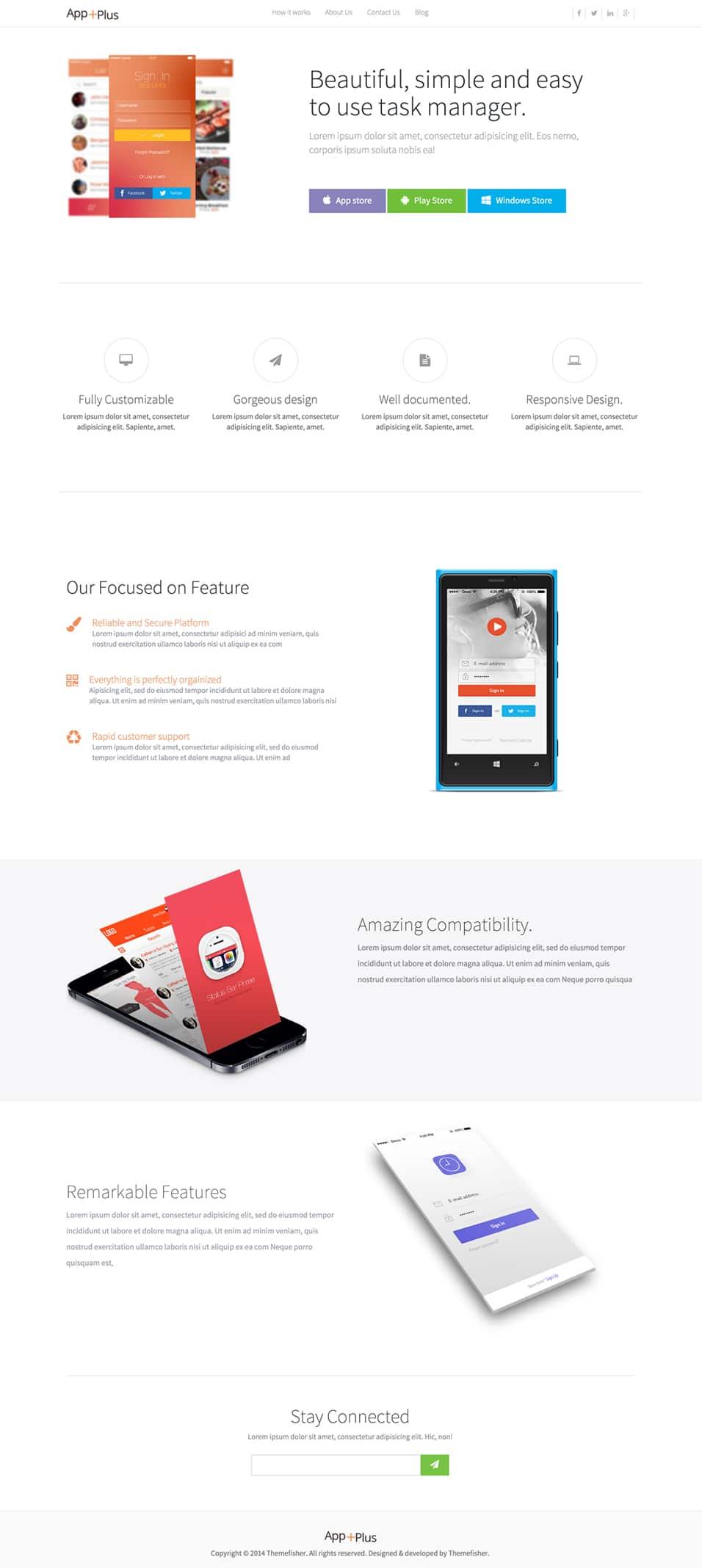 App-Plus Free App Landing Page PSD
