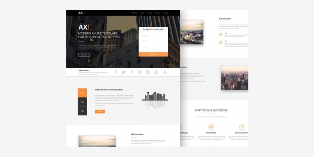 Axit Free Landing Page Template PSD