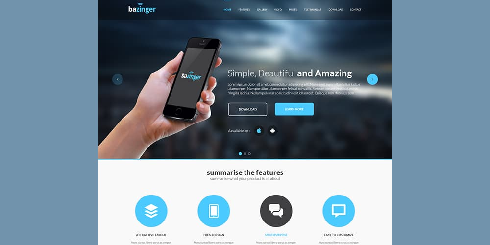 Bazinger Landing Page PSD