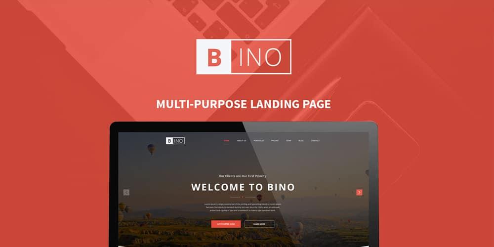 Bino Free Landing Page Template PSD