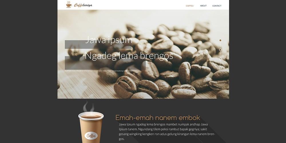 Coffelariya Landing Page Template PSD