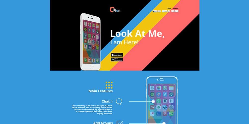 Fion Mobile App Landing Template PSD