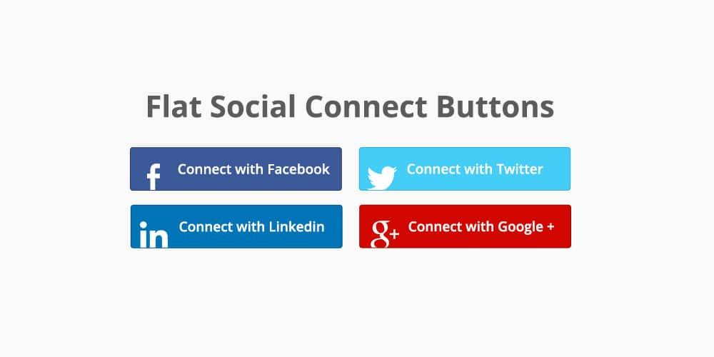 Flat Social Connect Buttons PSD