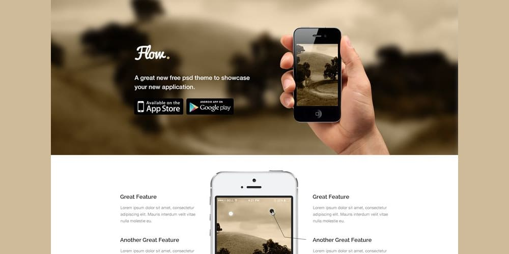Flow Free Mobile App Landing Page Template