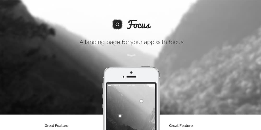 Focus Landing Page PSD