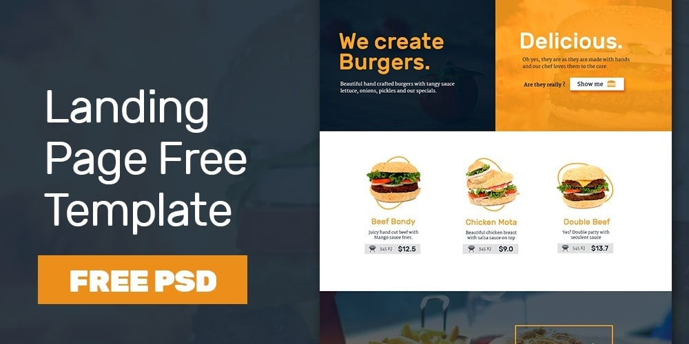 Free Fast Food Landing Page Template PSD