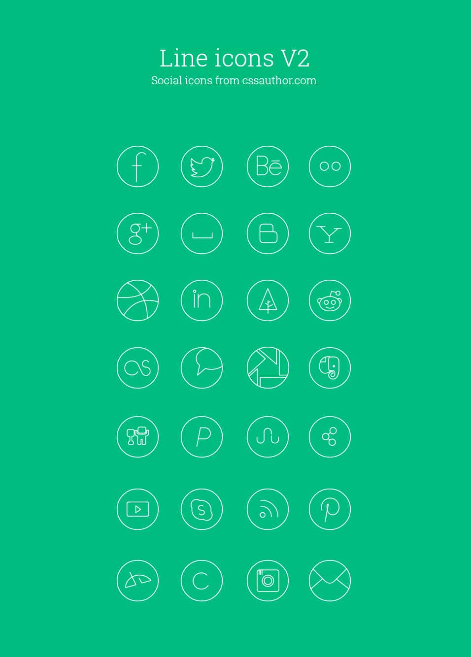 Free Social Media Line Icon Set - cssauthor.com