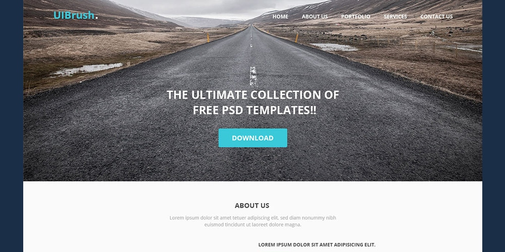 Free UIBrush Simple Landing Page Template PSD