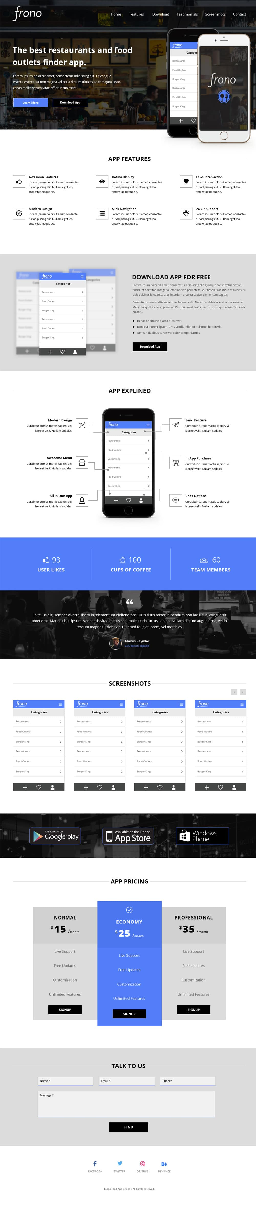 Frono App Landing Page Template PSD