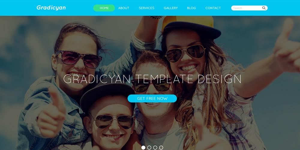 Gradicyan Free Landing Page PSD
