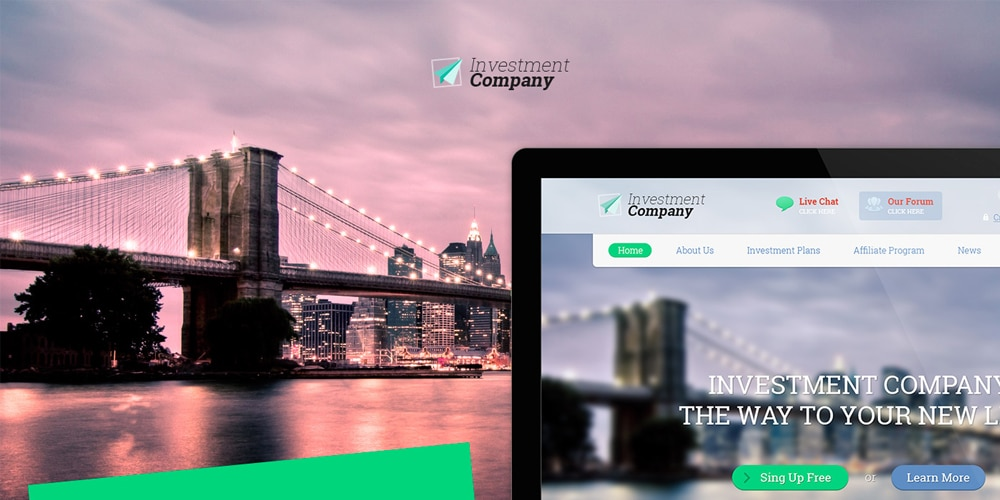 Investment Company Free Landing Page Web Template PSD