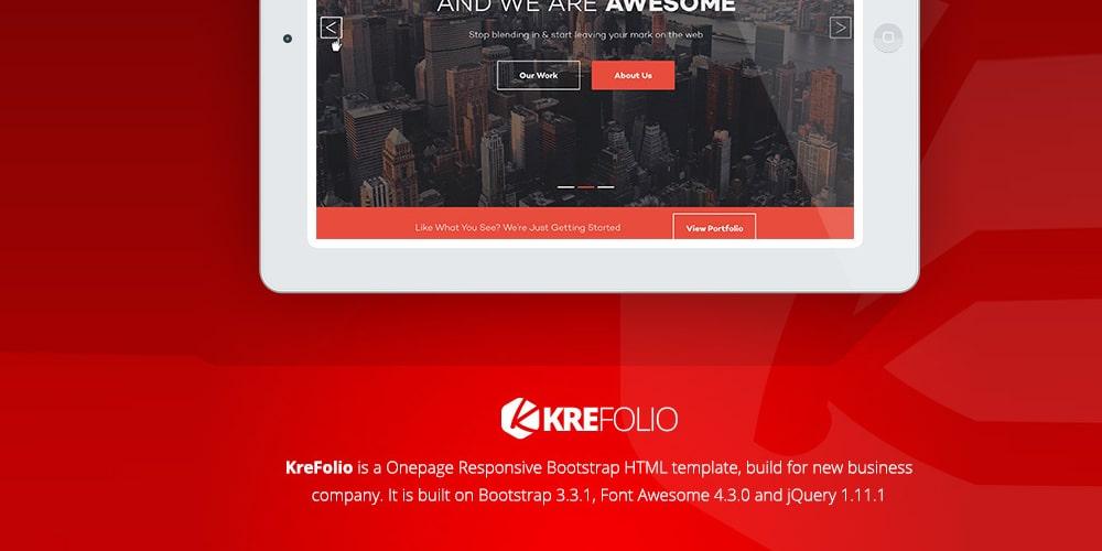 KreFolio Startup Agency Landing Page Template