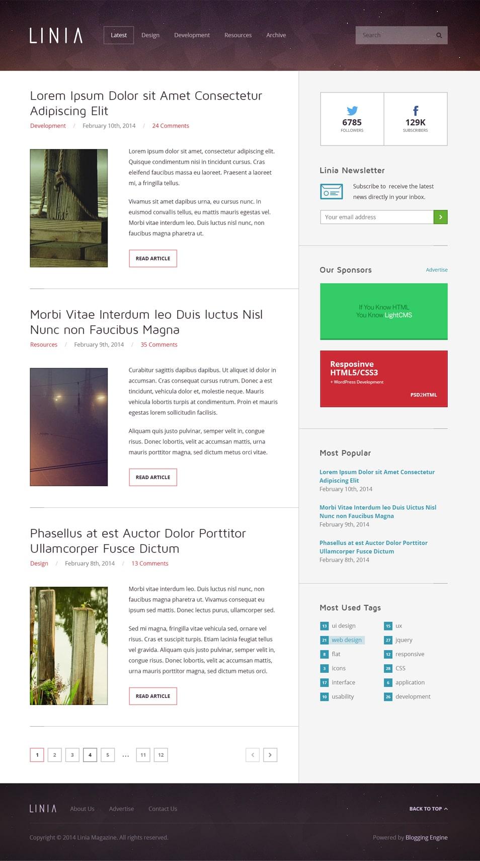 Linia - Free Magazine PSD Template