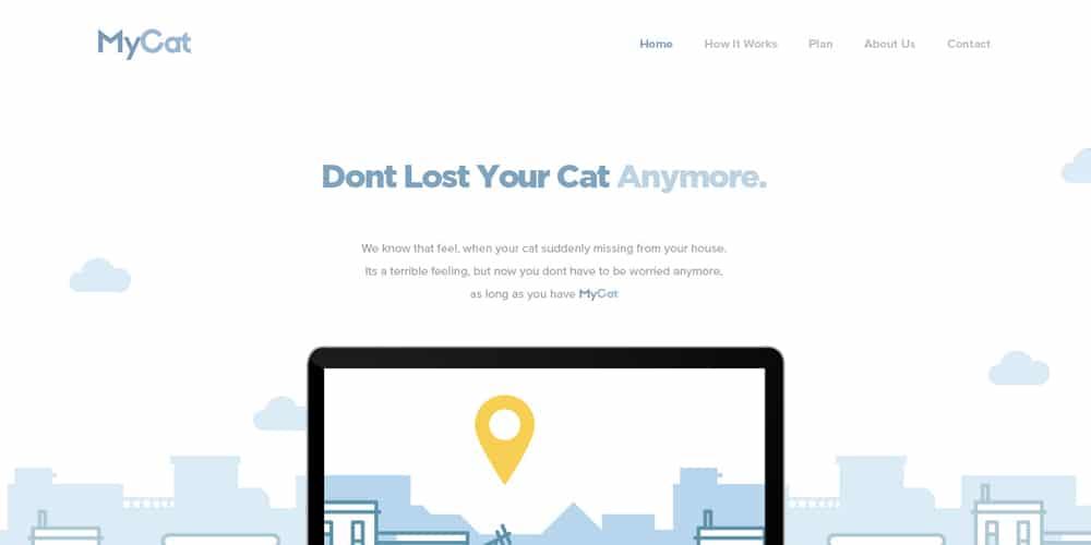 MyCat Free Landing Page PSD
