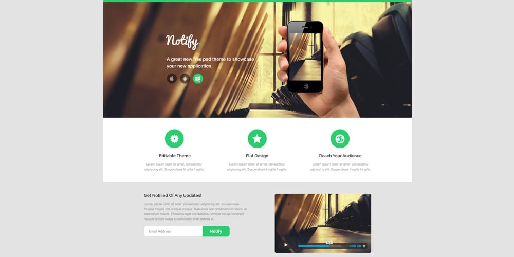 Notify Landing Page Template PSD