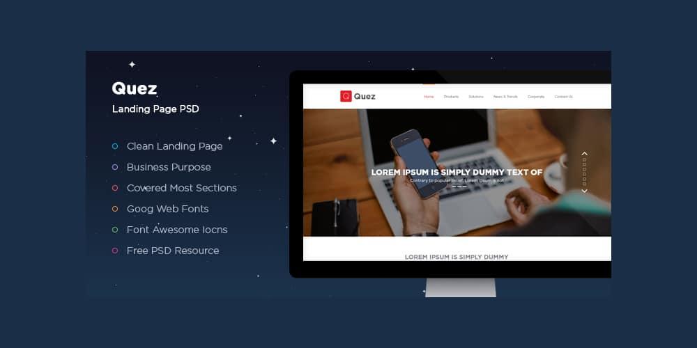 Quez Landing Page PSD