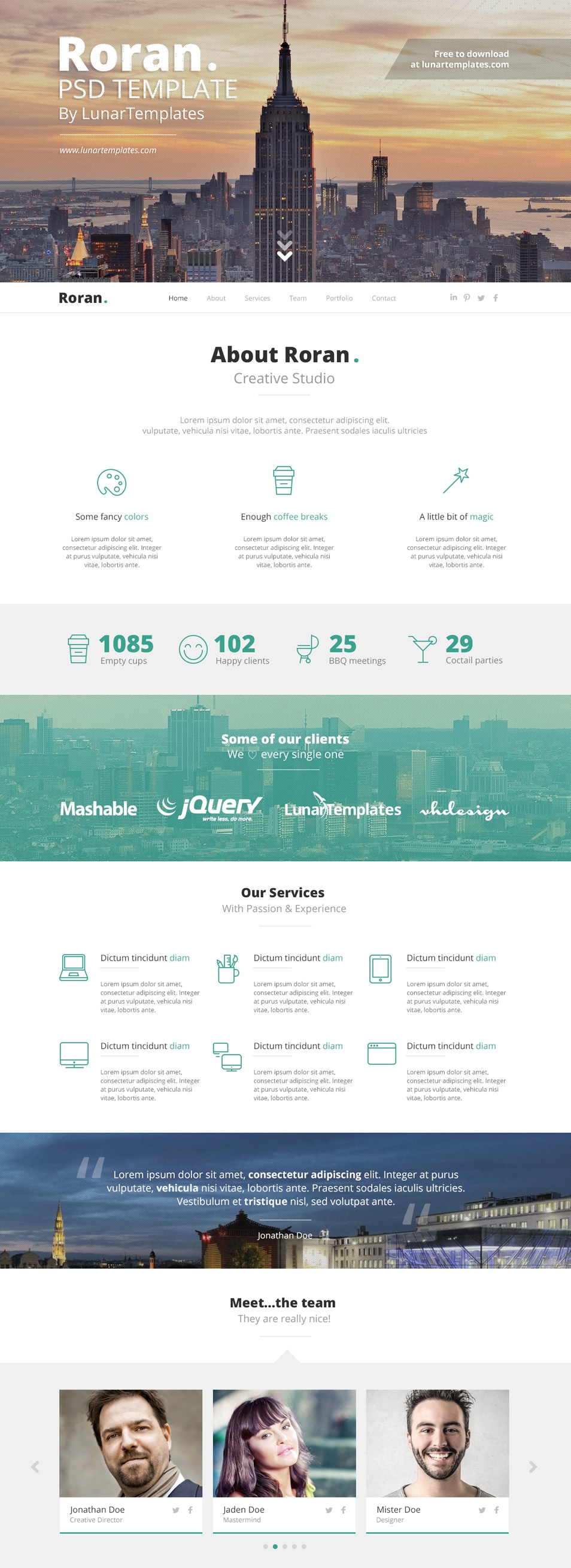 Roran – Free One Page PSD Template
