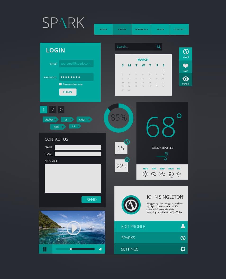 Spark Flat UI Kit PSD