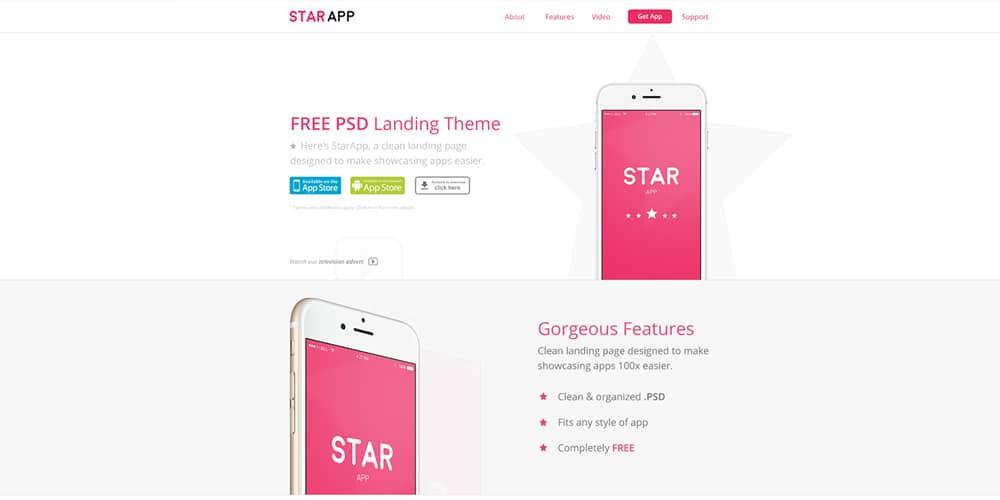 Starapp Free Landing Page Theme