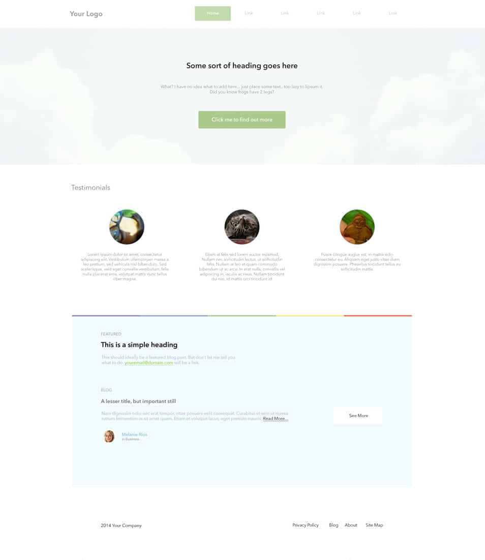 Super Simple Landing Page Free PSD