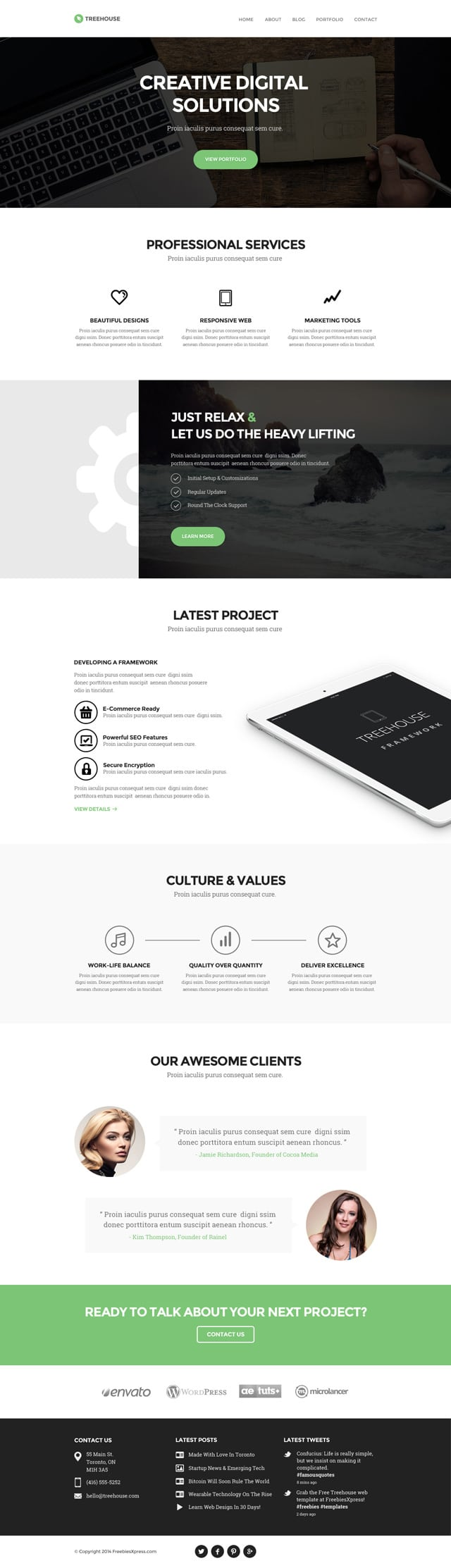Treehouse Website PSD Template
